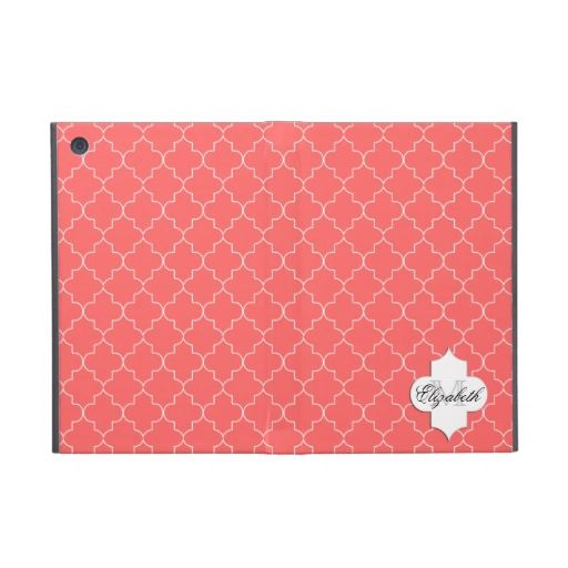 Coral Elegant Moroccan Monogram Pattern Cover For iPad Mini