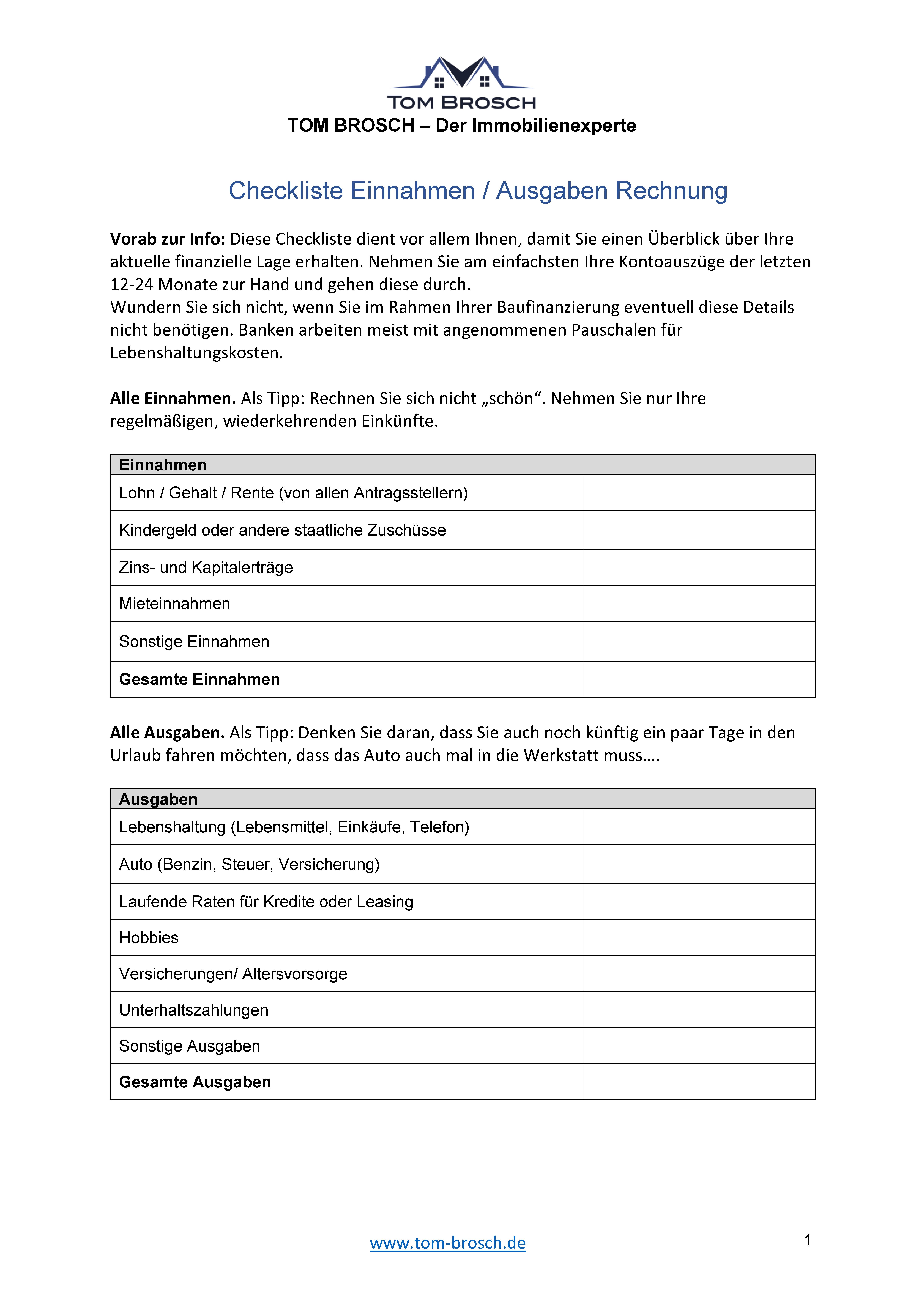 Checkliste Einnahmen Ausgaben Einnahmen Und Ausgaben Baufinanzierung Kontoauszug