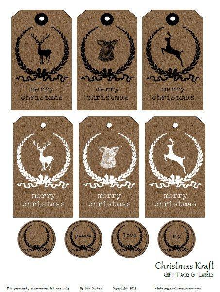 Free printable download christmas kraft tags and labels free free printable download christmas kraft tags and labels vintage glam studio negle Image collections