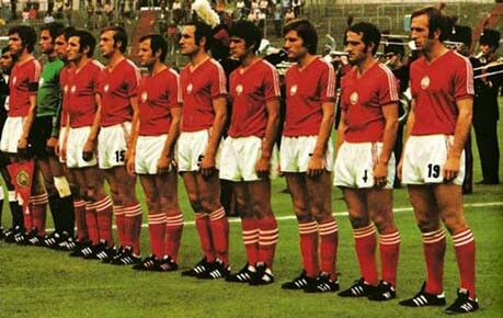 Bulgaria line up at the 1974 World Cup Finals.