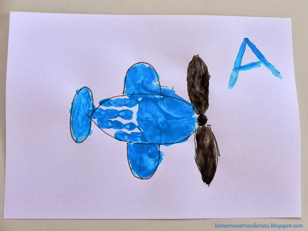 A is for airplane handprint for kids a de la avion my for Airplane crafts for toddlers