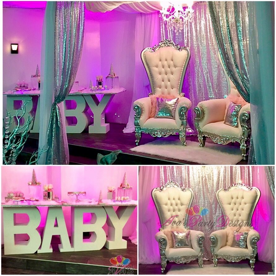 Baby Shower Party Rental Package E+. Duchess Throne Chairs, BABY Table,  Square Pipe