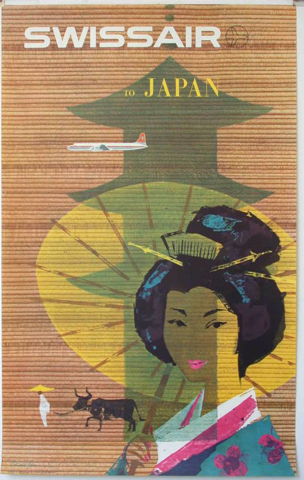 Vintage Airline Poster Swissair Japan
