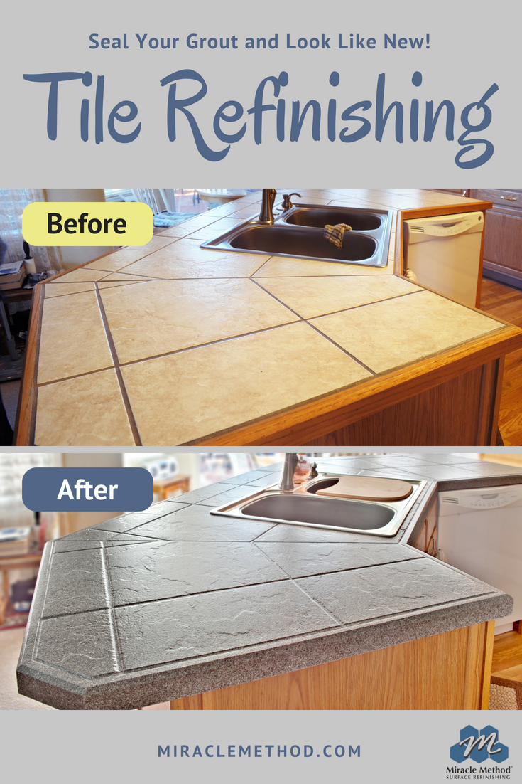 Mold Can T Grow In Tile Grout If It Is Sealed Up Miracle Method Surface Refinishing Also M Tile Countertops Redo Tile Countertops Kitchen Tile Countertops Diy