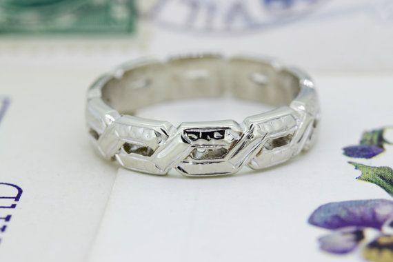 Art Deco Wedding Band Antique Stacking Ring 14k White Gold Ring