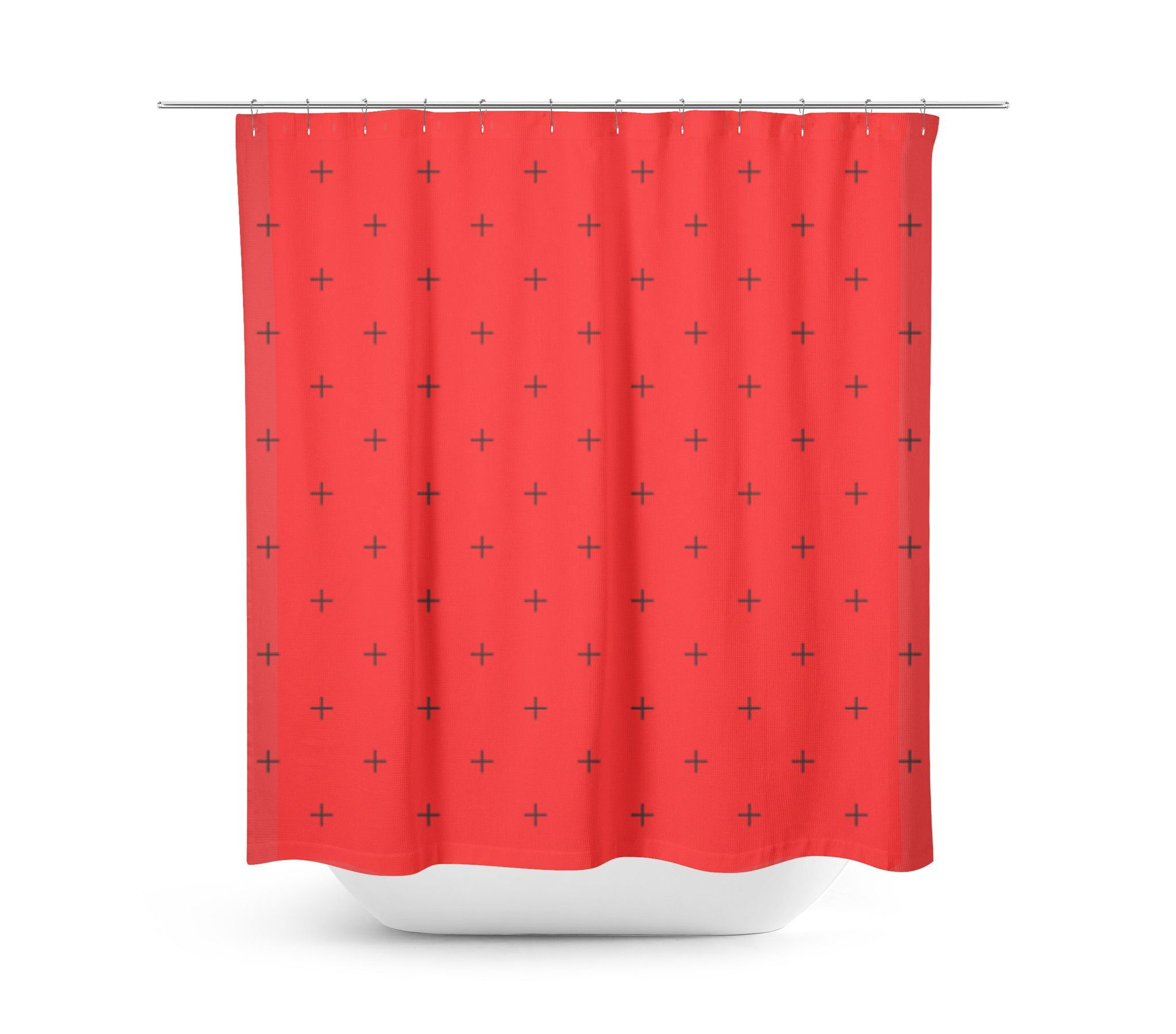 Swiss Cross Bright Red Shower Curtain