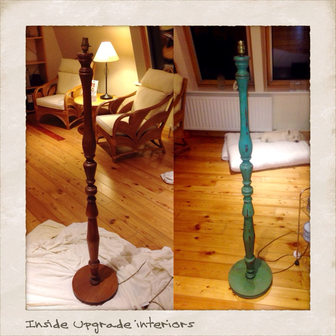 Tall Lamp Stand Pained In Provence Annie Sloan Chalk Paint Slightly Sanded Then Topped Off With Annie Sloan Dark Wax Now To Tall Lamps Lamp Lamp Makeover