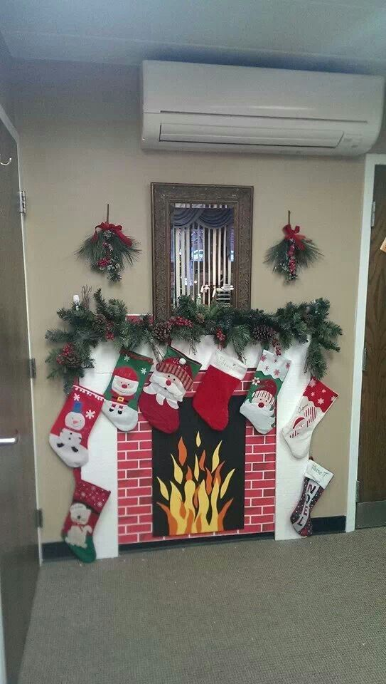 Office decor with stockings for staff Christmas Pinterest Xmas - office christmas decorations