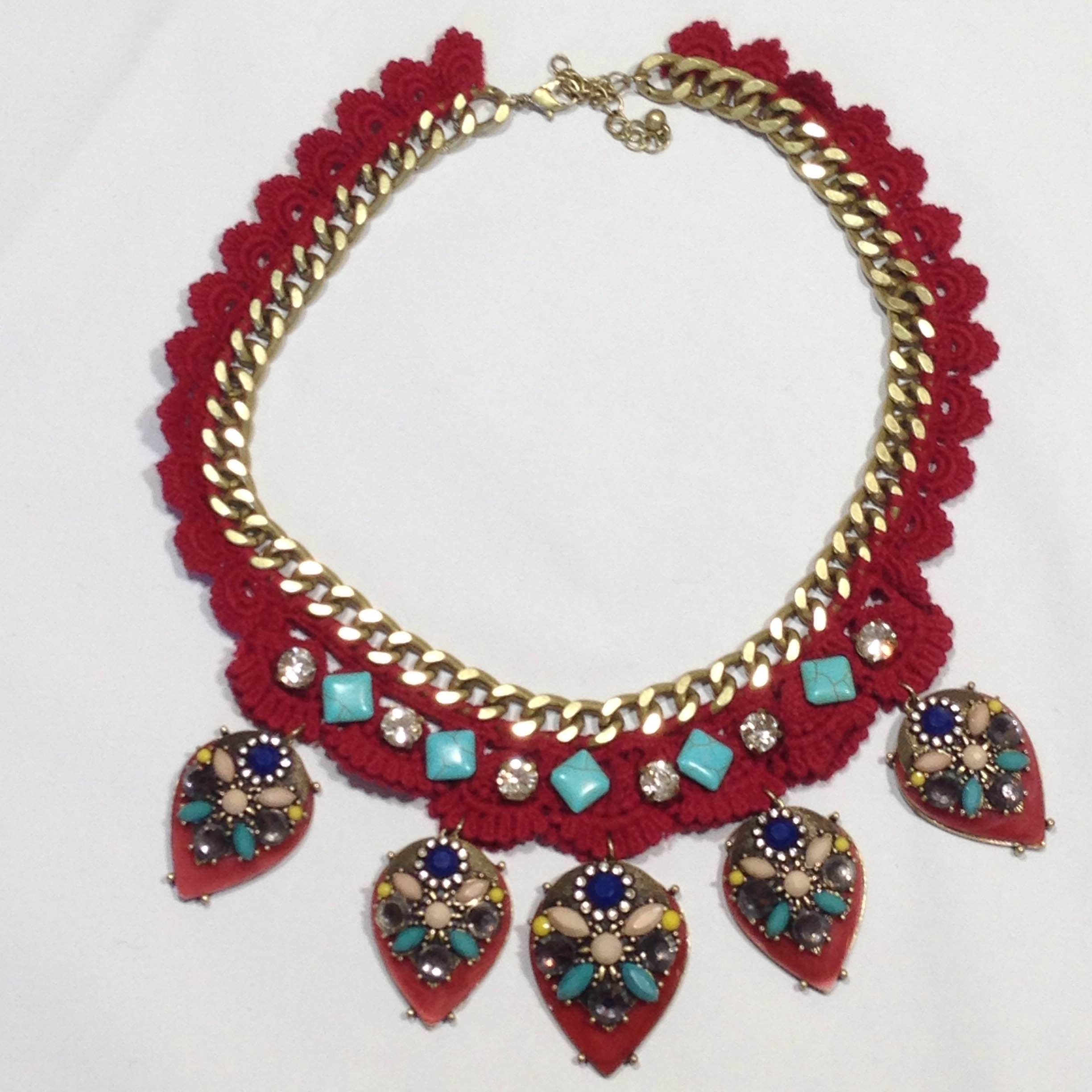 Progression takes her time. She builds slowly. She eases into things.  Mixing boho and vintage. Trend and taste.   Progression has so many elements working in tandem. Burgundy crochet on an aged gold chain with turquoise and colored and clear rhinestone pendants.   Move forward with Progres... #SweetSangria #jewelry #trending #eyecandy #unique #boho #accessories #fashion #coolmom #womensjewelry