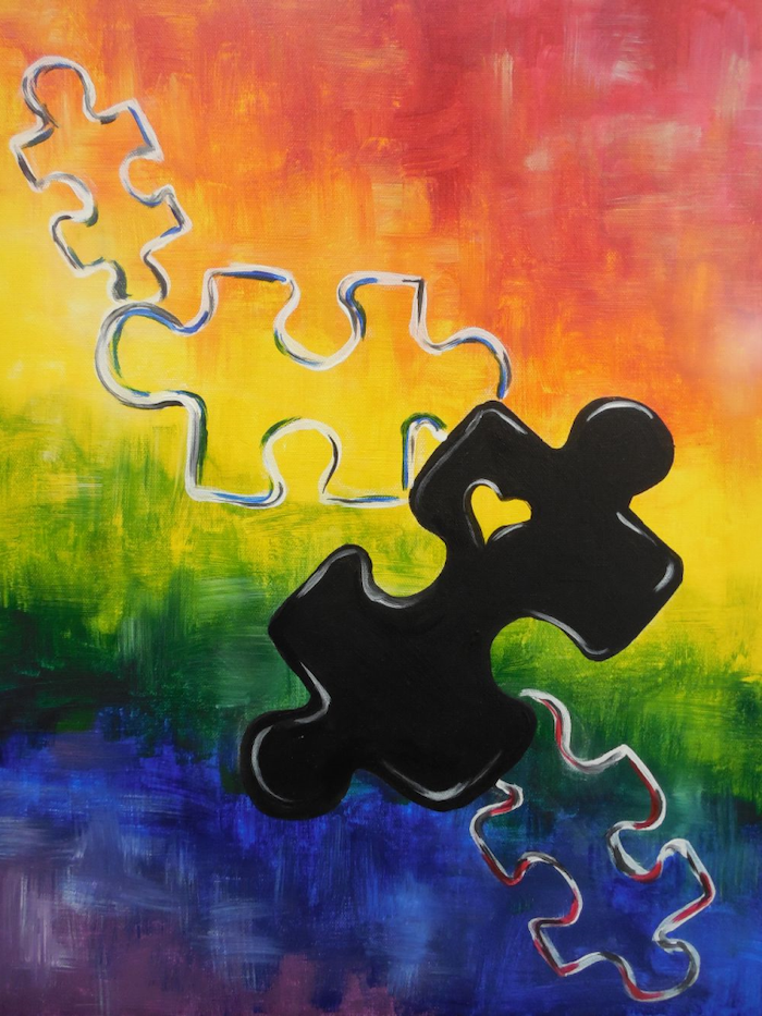 Painting Ideas For Beginners Jigsaw Puzzle Pieces Background With All Colors Of The Rainbow Cute Canvas Paintings Canvas Painting Diy Painting Art Projects