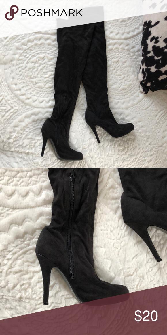 Bumper Over The Knee Black Suede High Heel Boots With Images Suede High Heels Suede High Heel Boots High Heel Boots
