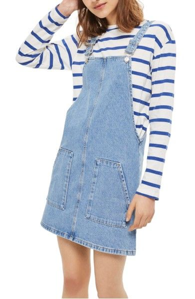Main Image - Topshop Denim Pinafore Dress (Regular & Petite)
