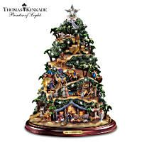 Thomas Kinkade Tree With Lights Moving Train Music Thomas Kinkade Christmas Tabletop Christmas Tree Ceramic Christmas Trees