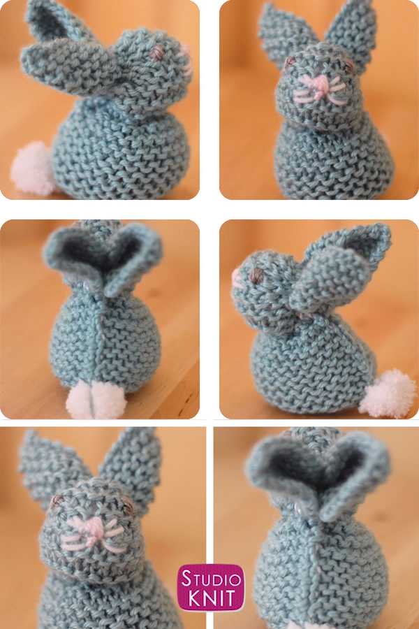How to Knit a Bunny from a Square #knittedtoys