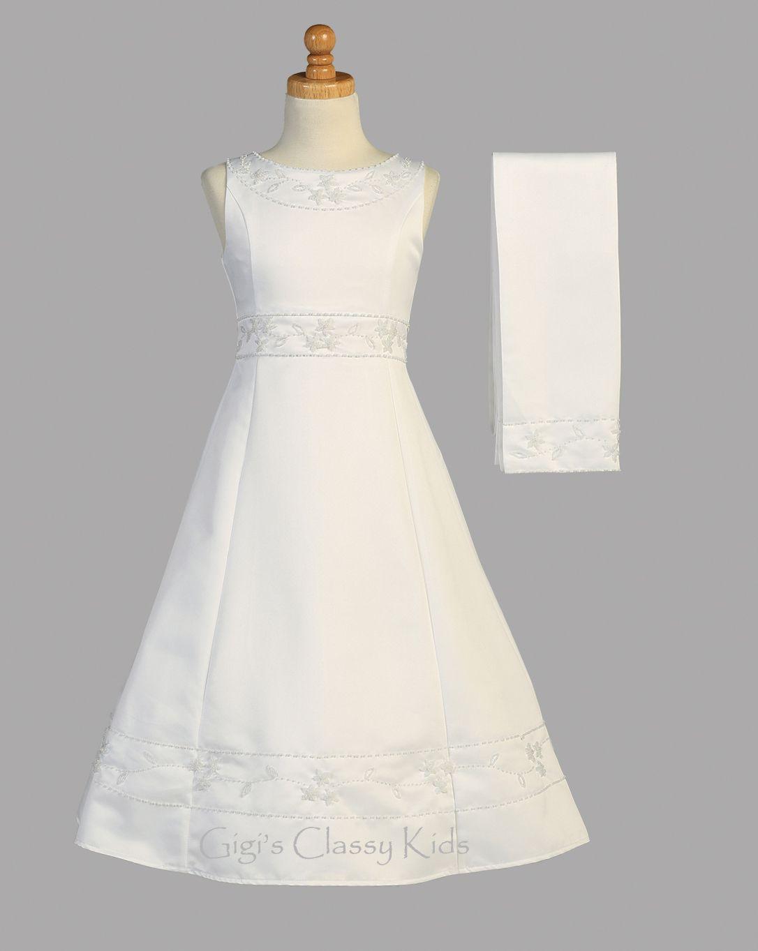 Flower Girls White Satin First Communion Dress Wedding 2 Pc Shawl Party Formal