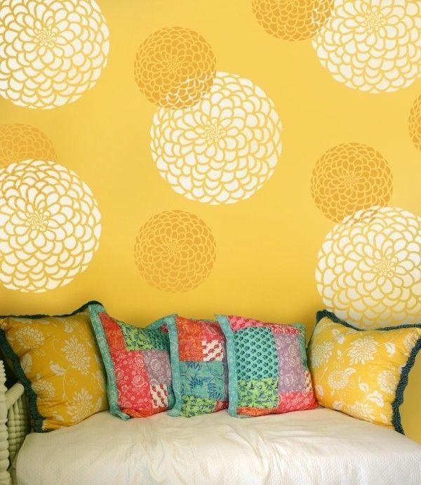 Flower Stencil Zinnia Grande X-SM - Flower stencils for walls ...