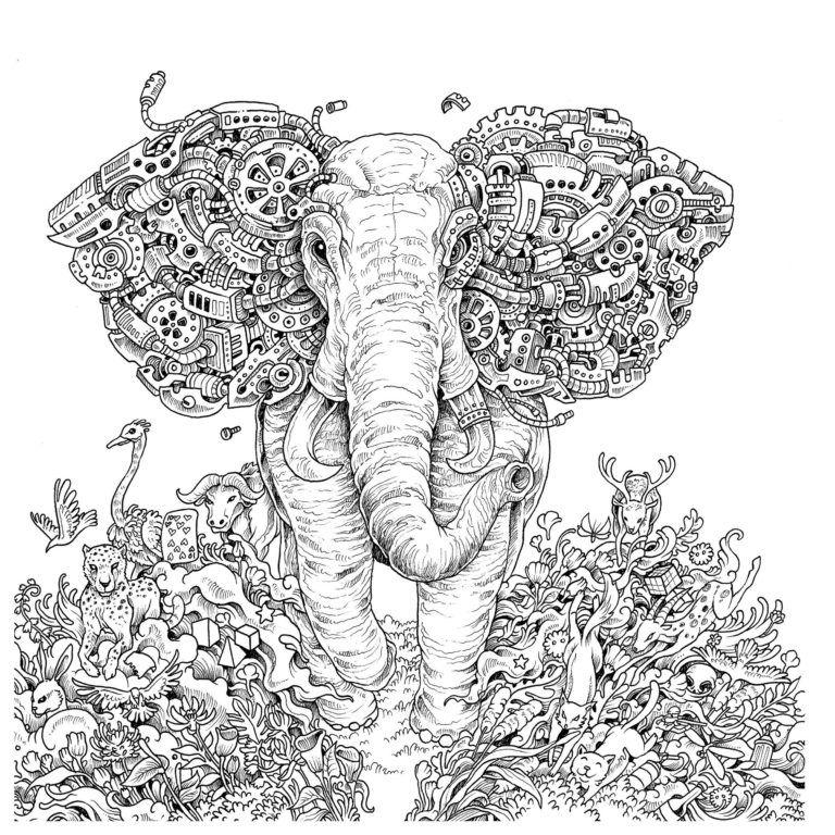 Mythomorphia-elephant-coloring-book-Kerby-Rosanes in 2019 ...
