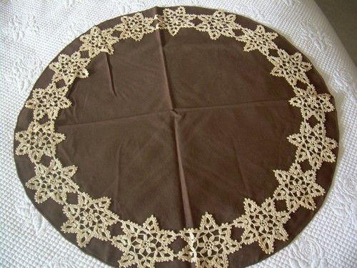 Vintage Italian Handmade Small Tablecloth with Crochet Stars Round | eBay
