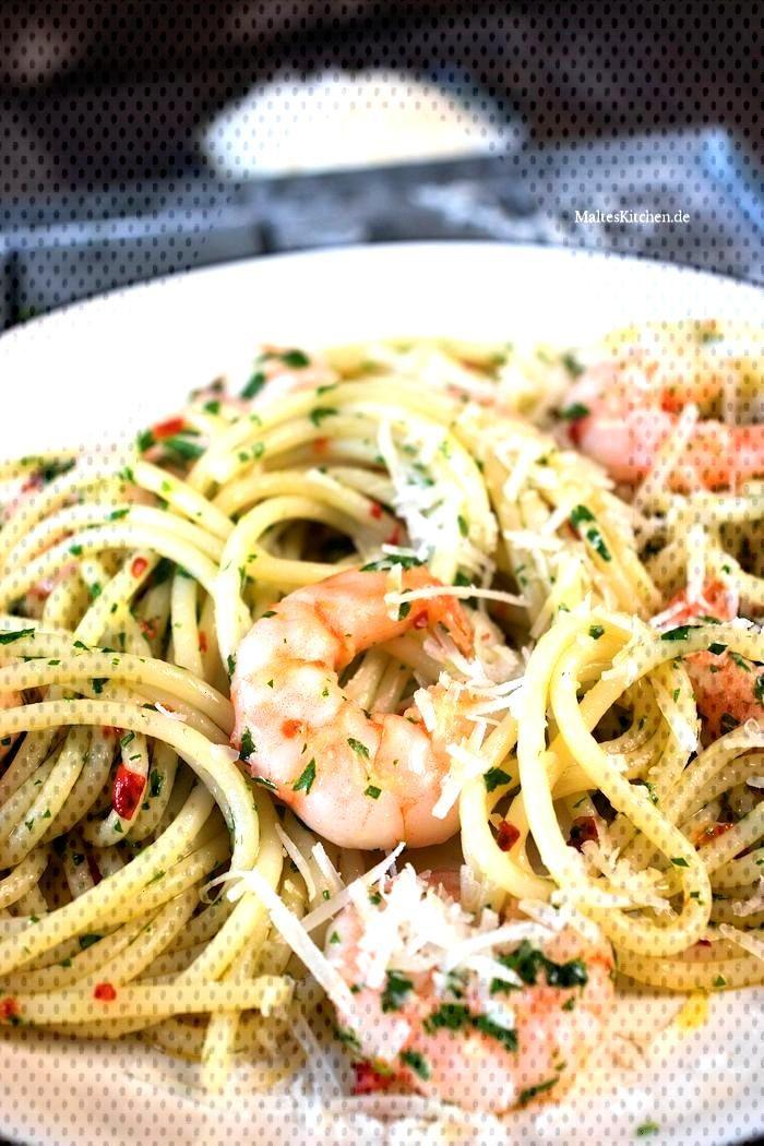 Spaghetti with shrimp, garlic and chilli -  Spaghetti with shrimp, garlic and chilli  -