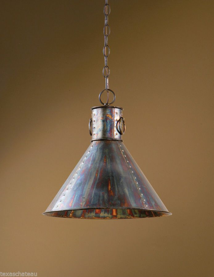 French Country Distressed Copper Kitchen Chandelier Metal Light Fixture Pendant