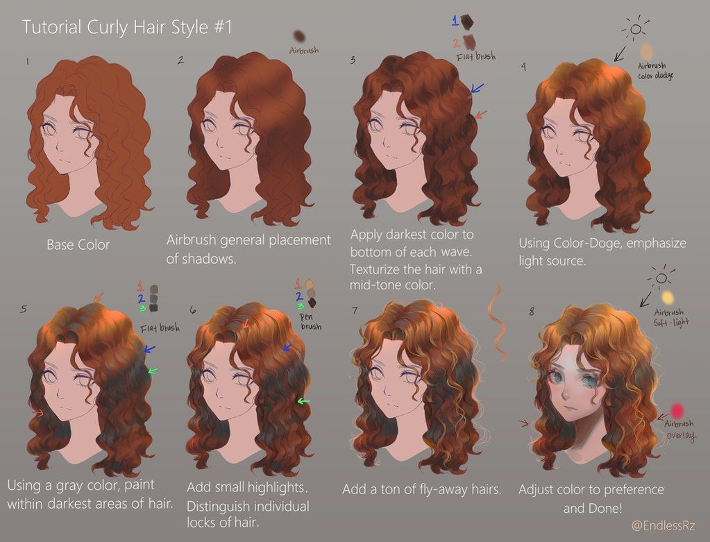 Tutorial Curly Hair Style 1 By Https Www Deviantart Com Endlessrz On Deviantart Digital Art Tutorial Curly Hair Styles How To Draw Hair