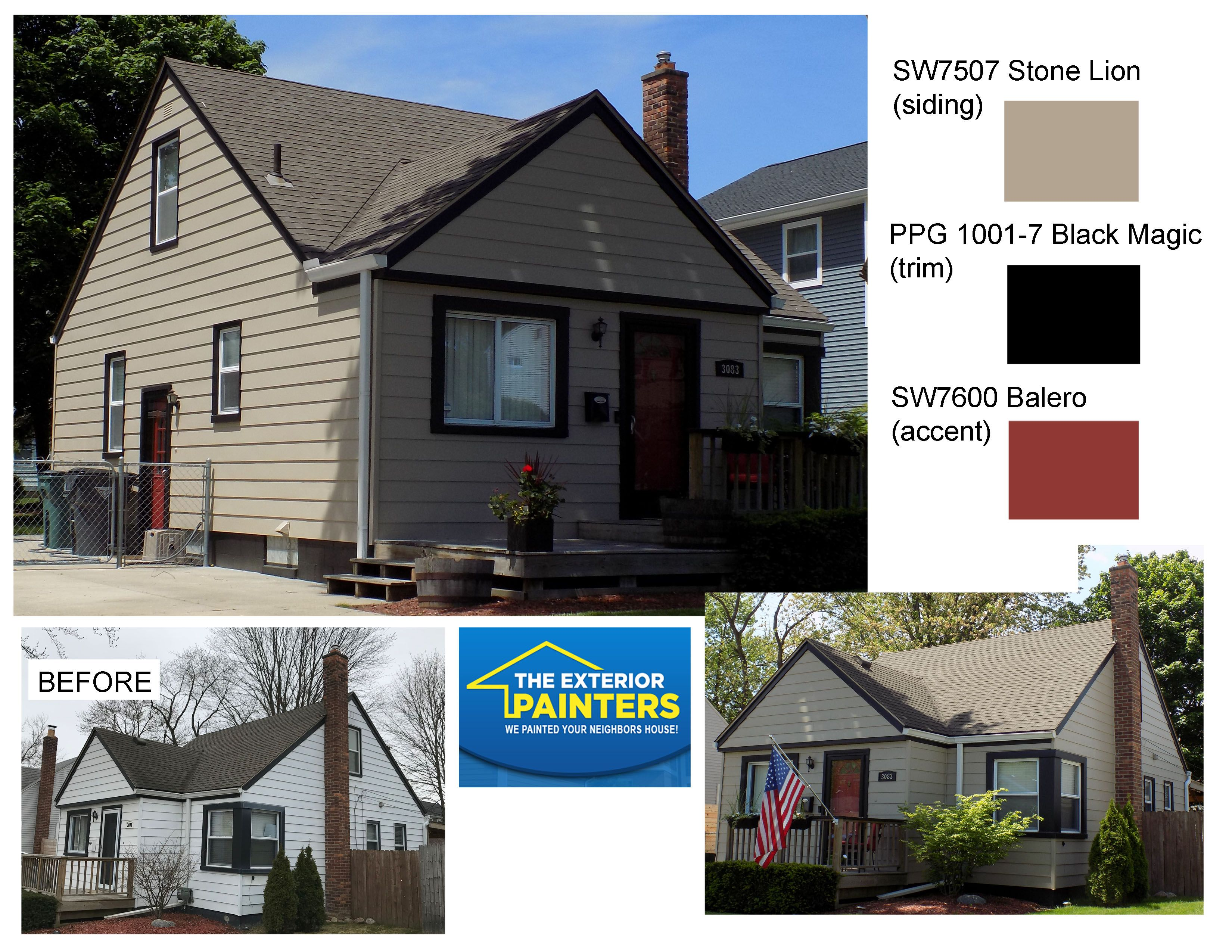 Sherwin Williams Stone Lion And Balero With Ppg Black Magic House Paint Exterior Exterior Painters House Exterior