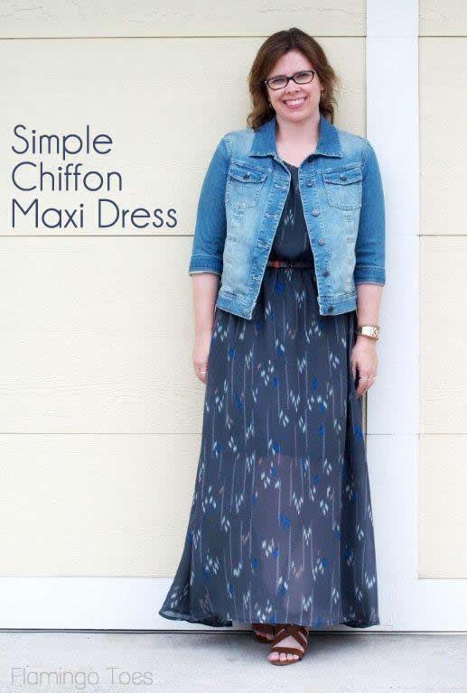 Simple Chiffon Maxi Dress -   Schnittmuster, Kleidung und Kleider