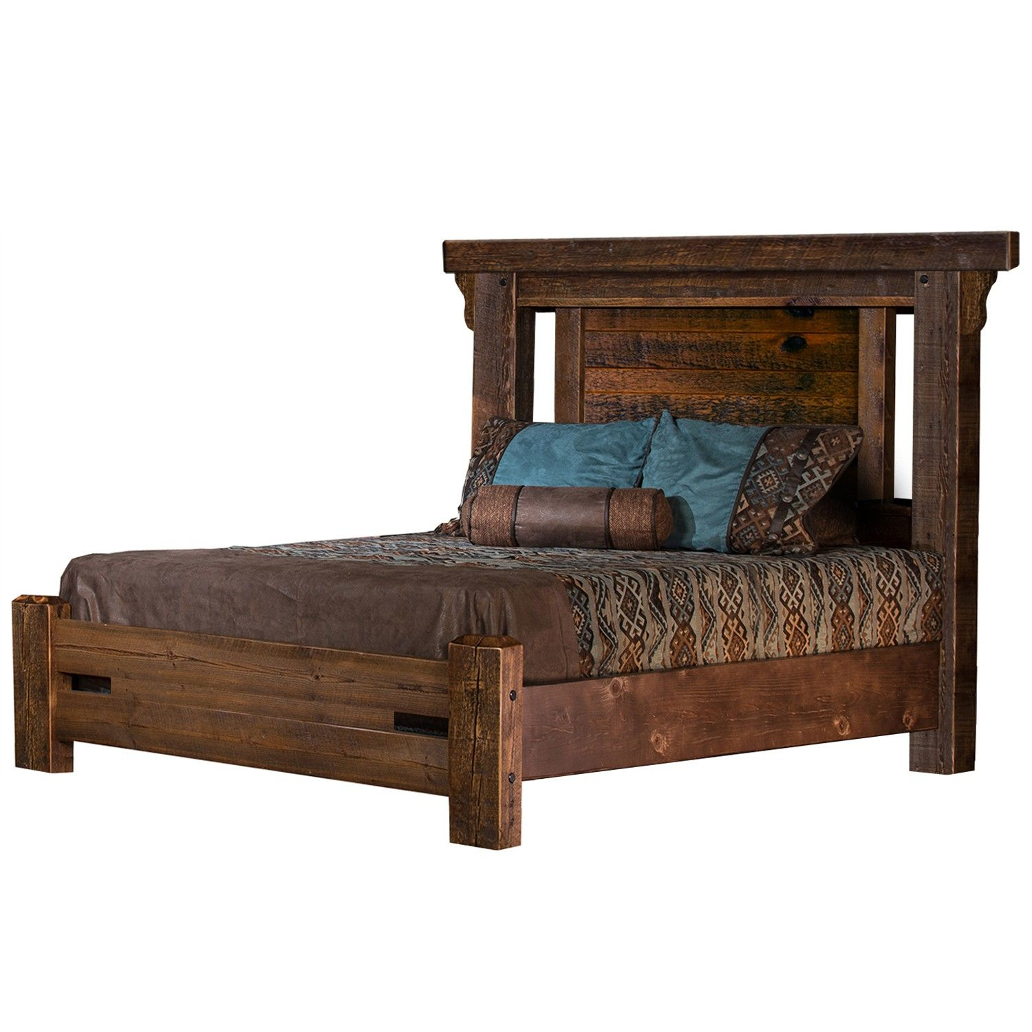 Rocky Creek Barn Wood Highland Panel Bed Rustic Bed Frame