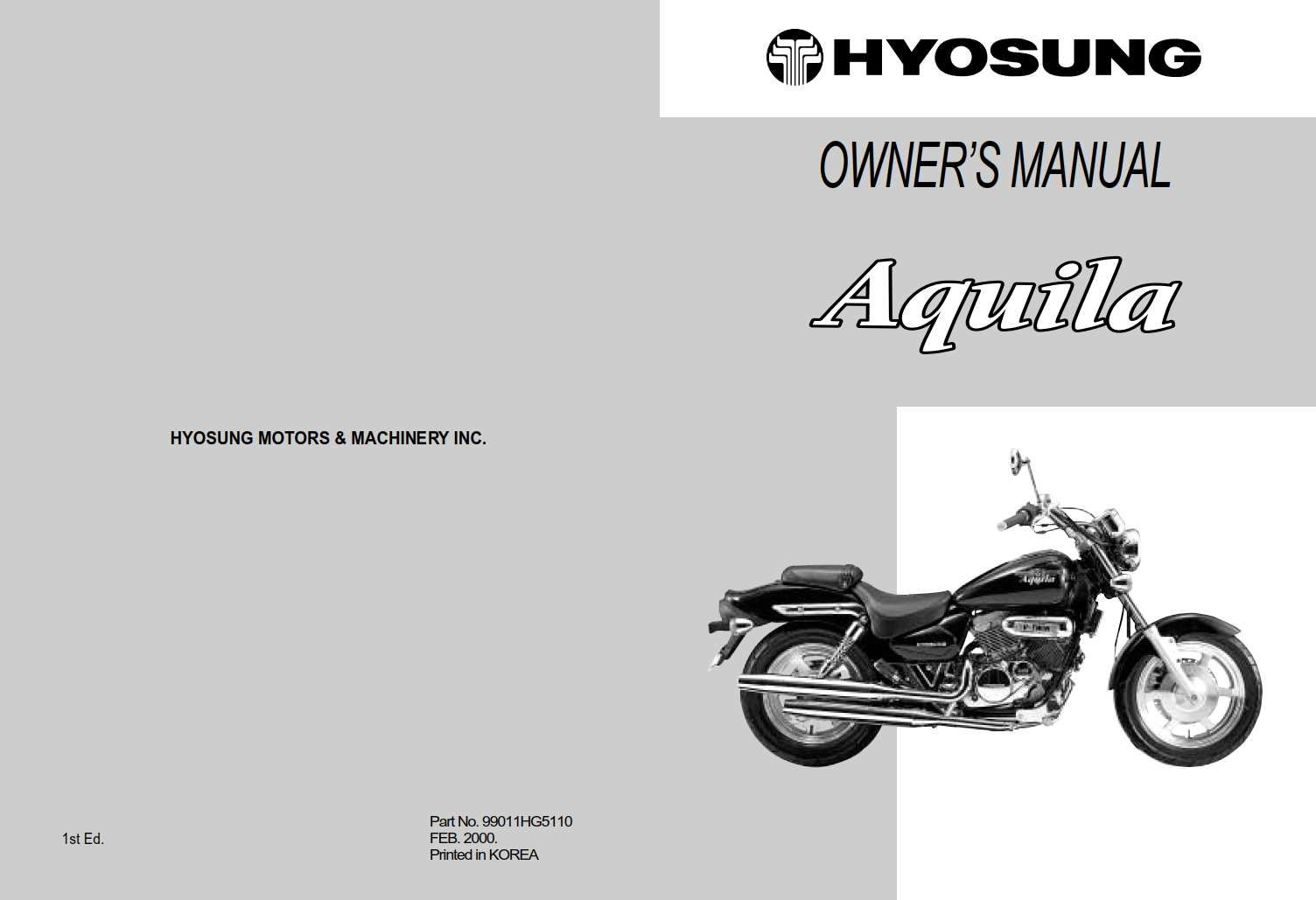Hyosung Aquila 2000 Owner S Manual Has Been Published On Procarmanuals Com Https Procarmanuals Com Hyosung Aquila 2000 Owners Ma In 2020 Manual Owners Manuals Owners
