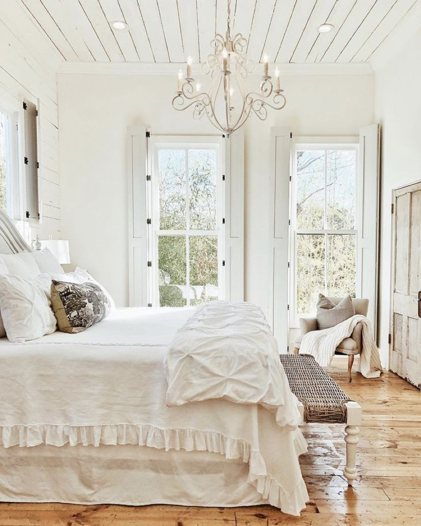 Shabby Chic Bedroom White Ruffle Bedding White Wall Wood Beam Ceiling Farmhouse Bedroom Decor Home Decor Bedroom Modern Farmhouse Bedroom