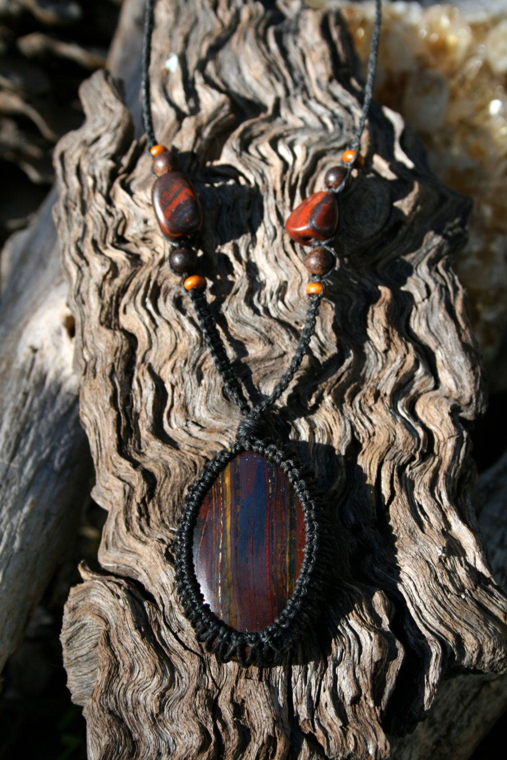 Red Iron Tigers Eye Macrame Pendant Necklace with Iron Tigers Eye & Wooden Beads by NaturallyEnigma on Etsy