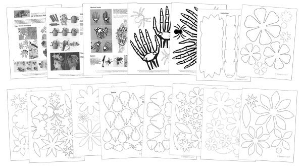 Make your own paper flower and skeleton hand headpiece