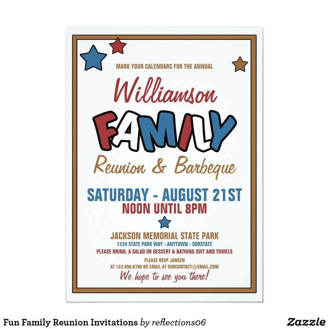 Fun Family Reunion Invitations Zazzle Com Family Reunion Invitations Family Reunion Invitations Templates Reunion Invitations