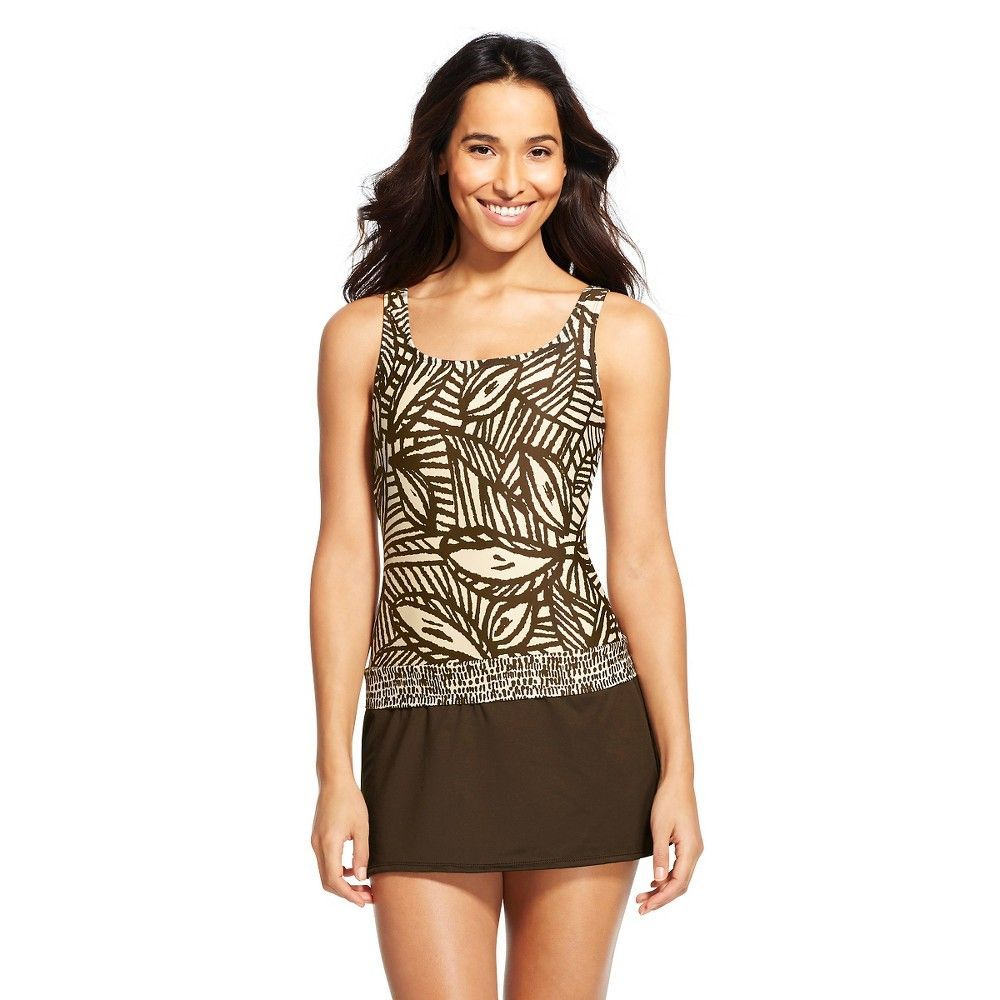 Women's Palm Print Square Neck Swim Dress - Coco Brown - S - Cleanwater, Size: Small