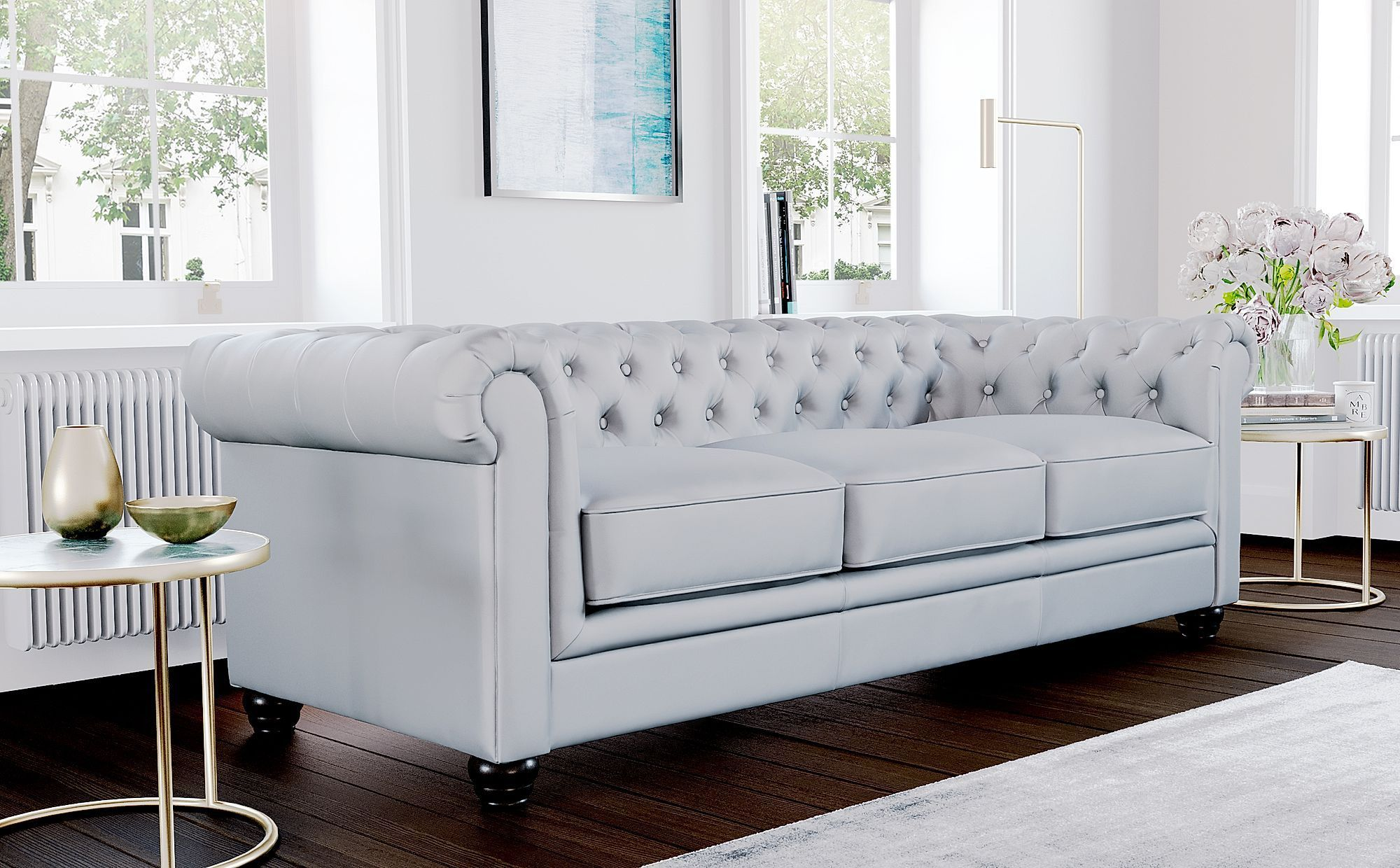 Hampton Light Grey Leather 3 Seater Chesterfield Sofa Pinpon In 2020 Furniture Choice Grey Leather Chesterfield Sofa Sofa Set