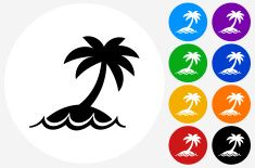 Palm Tree Icon on Flat Color Circle Buttons vector art illustration