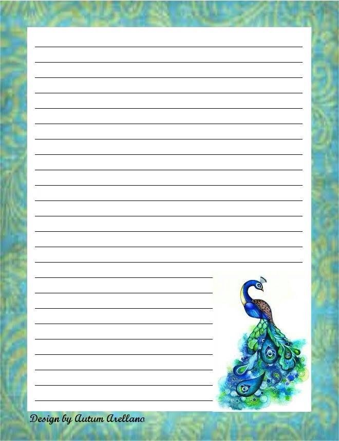 Peacock stationery | Pretty Stationery | Free printable ...