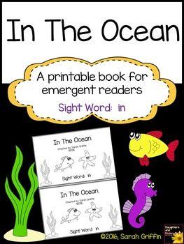 Sight Word Reader - In The Ocean - Decodable Book BW | Kindergarten ...