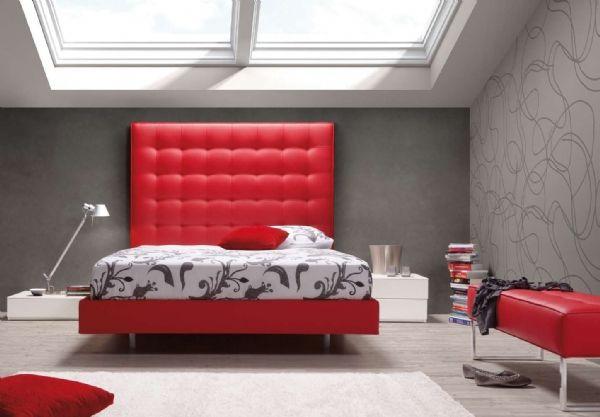 Cama tapizada roja 1 - CAma cabecero capitone | Camas tapizadas ...