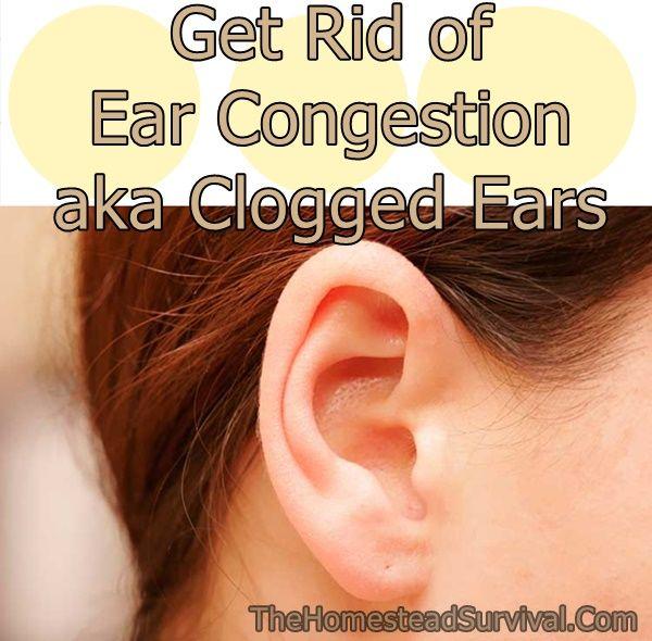 Get Rid Of Ear Congestion Aka Clogged Ears Homesteading The Homestead Survival Com Please Share This P Clogged Ears Ear Congestion Swimmers Ear Remedy