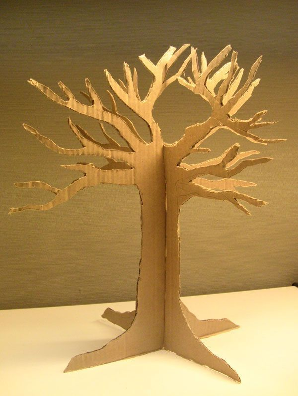 Cardboard Tree Trace Two Cut Slits Combine Recycled