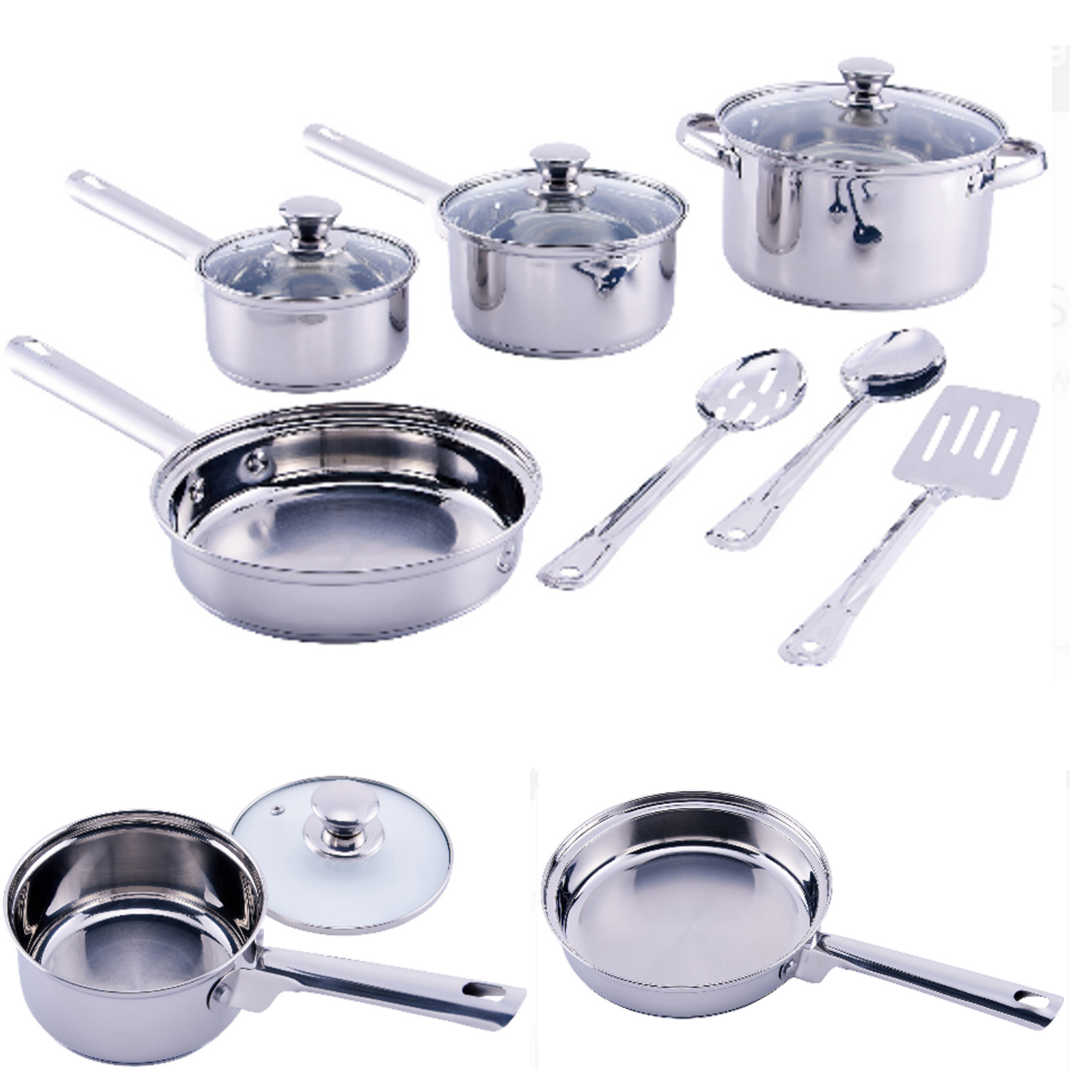 Cookware Set Stainless Steel Kitchen Cooking Pots Pans Lids