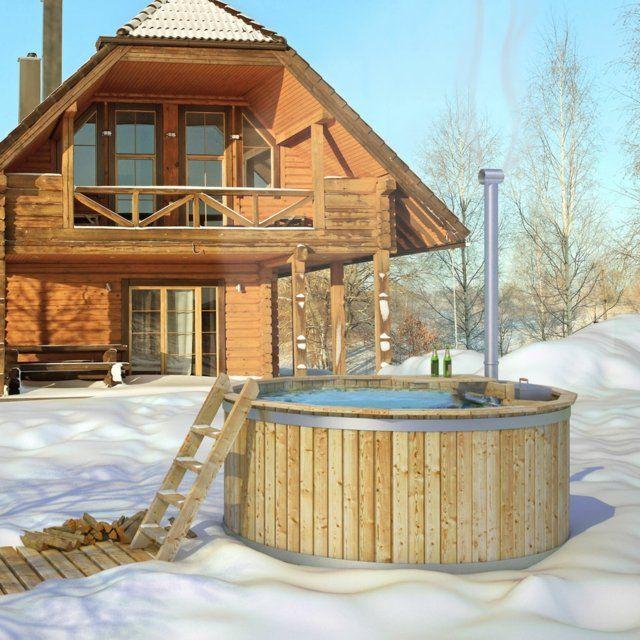 Whirlpool Badetonne Garten Winter coole Idee | Terrasse ...