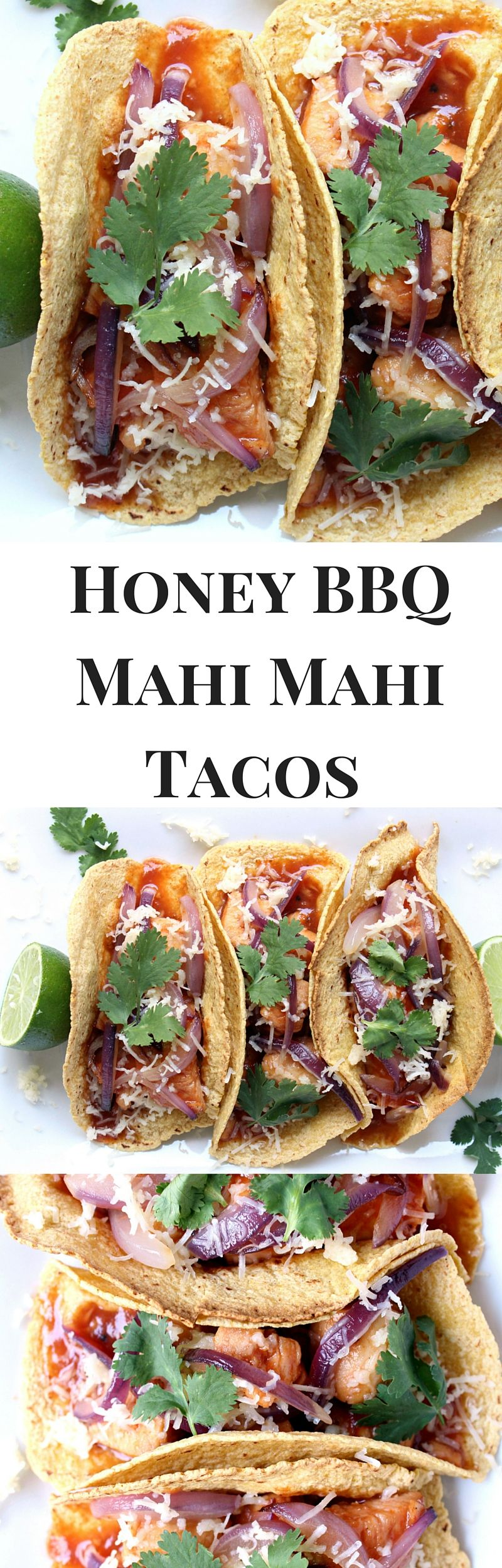 Honey BBQ Mahi Mahi Tacos w/ Red Onion & Crumbled Cheddar - ready to devour in just 30 minutes!! simple + healthy
