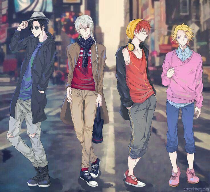 Jumin, Zen, 707, Yoosung, cool, outfits, city, town; Mystic Messenger