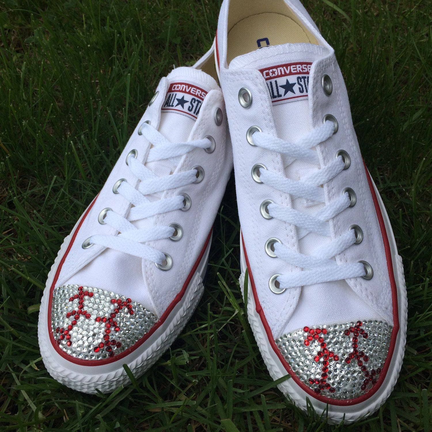 4987934ae147 Baseball Converse Shoes. Women s White Low Top Converse Shoes with Baseball  Bling. Rhinestone baseball Bling perfect for any Baseball Fan by  TrickedKicks on ...
