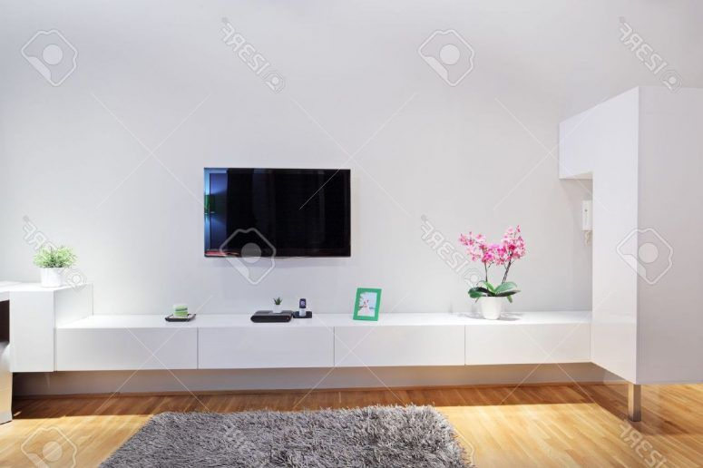 Living Room, Minimalist Room Small Space Concrete Wall White Fabric  Vertical Curtain Leather Modern Swivel