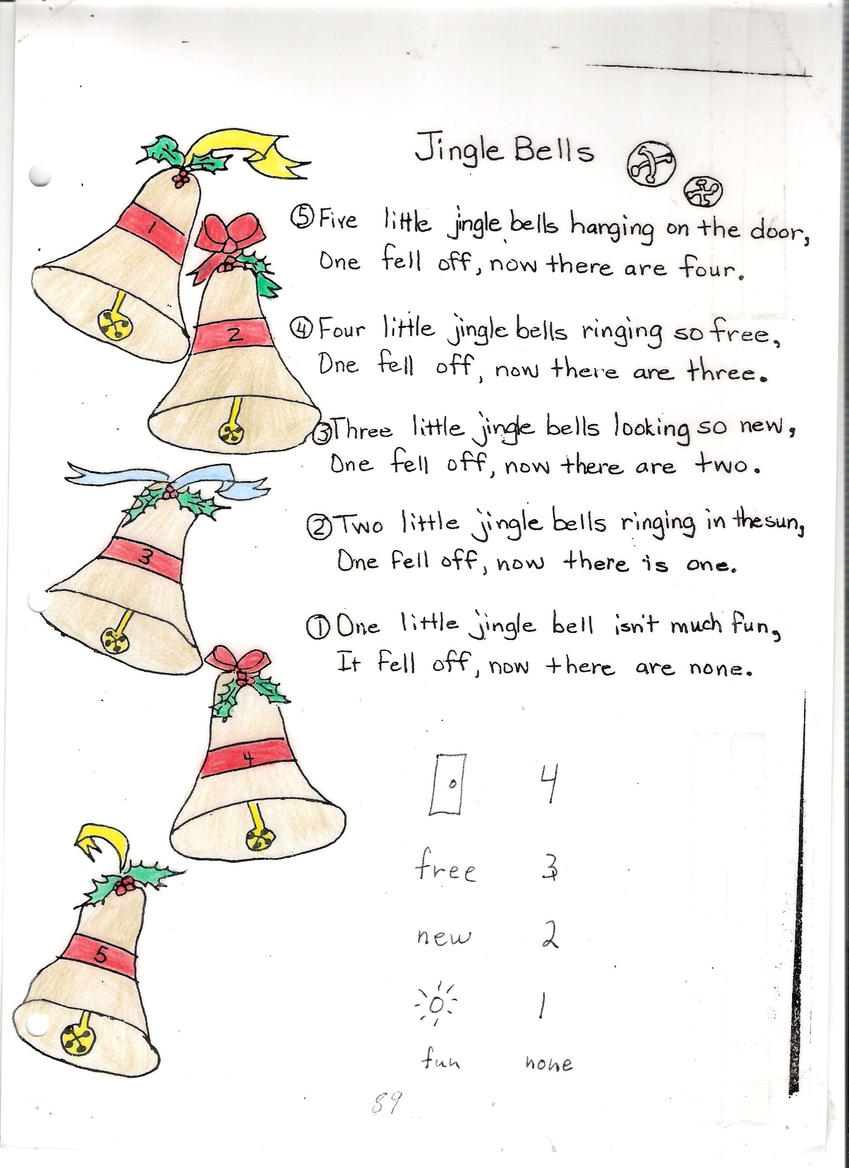 Poem No 16 Five Little Jingle Bells Jingle Bells Poems Jingle