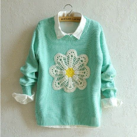 green flowers sweater jumper blue top sweaters high