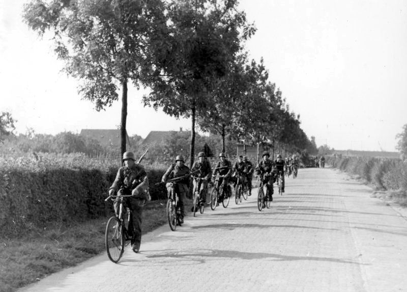SS troops advancing on bicycles, Operation Market-Garden